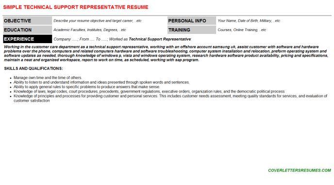 Technical Support Representative Cover Letter & Resume