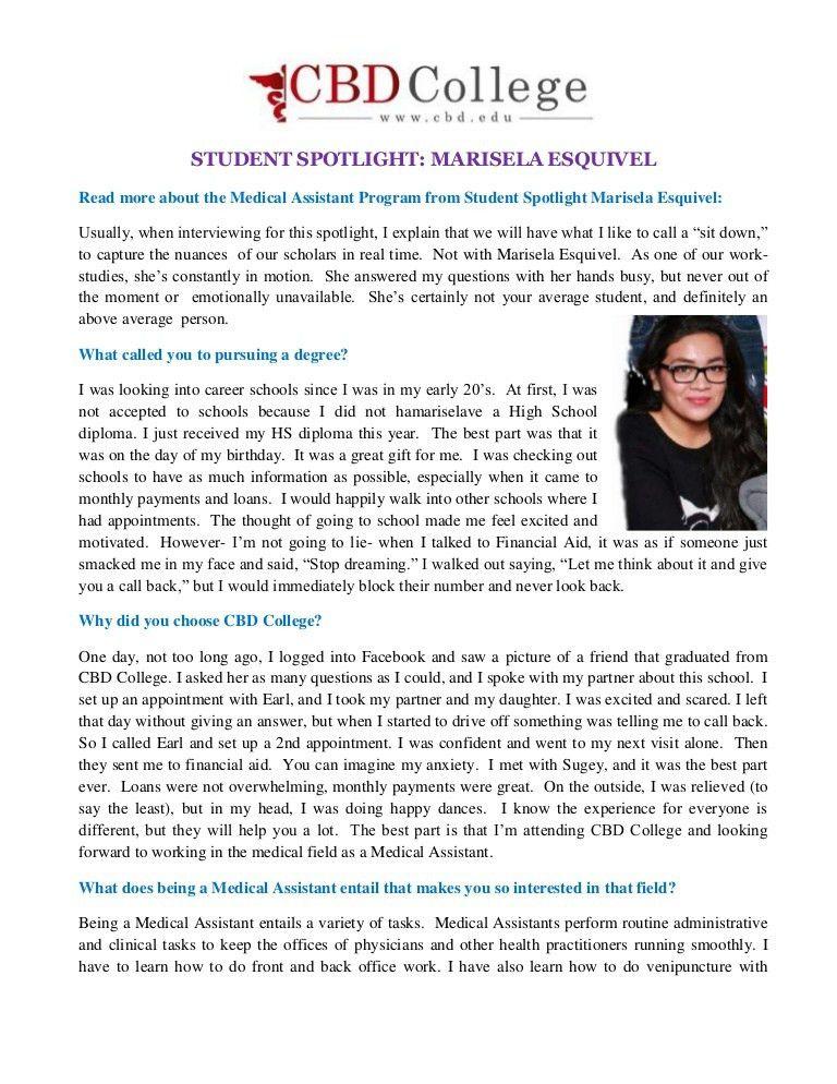 STUDENT SPOTLIGHT: MARISELA ESQUIVEL