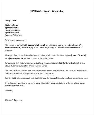 Sample Affidavit of Support Letter - 8+ Examples in Word, PDF
