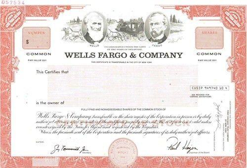 Wells Fargo & co Specimen Stock Certificate
