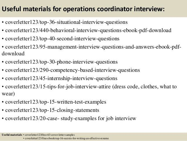 Top 5 operations coordinator cover letter samples