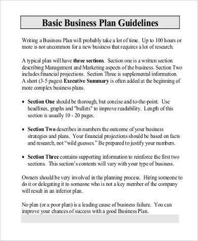 business plan format - Template
