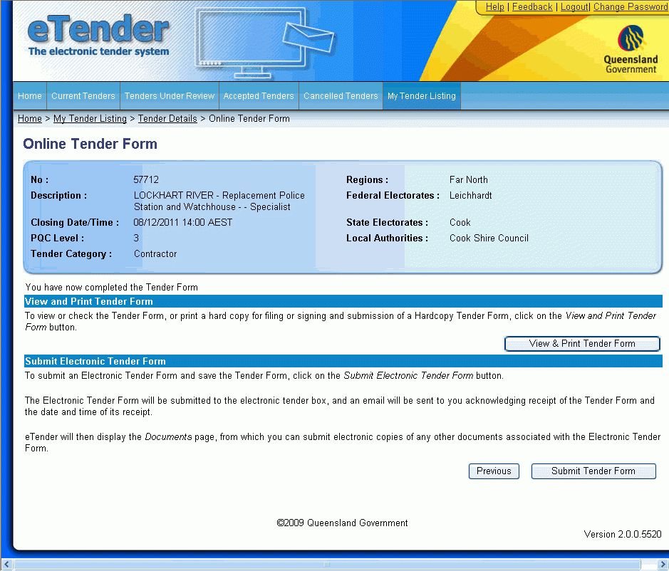 Completing the online tender form