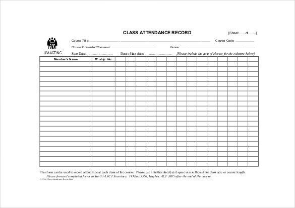 10+ Attendance Sheet Templates - Free Word, Excel, PDF Documents ...