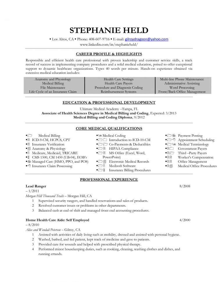 Medical Billing And Coding Resume Examples For The Objective ...