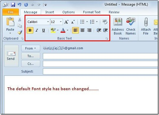 Change Default Email Font Settings & Theme In Outlook 2010