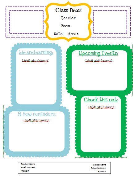 teachers newsletter template free | newsletter template photo ...