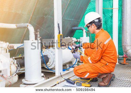 Offshore Oil Rig Worker Mechanical Technician Stock Photo ...
