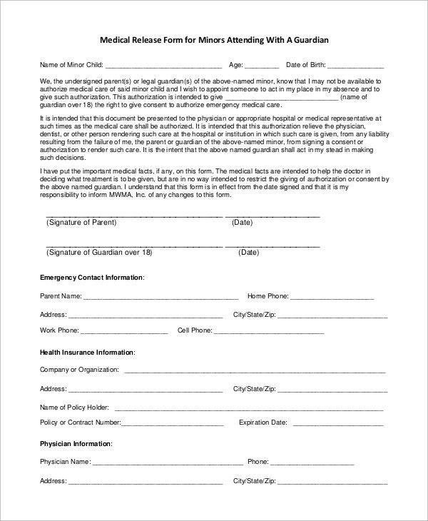 Medical Release Form For Child. How To Use A Medical Release Form ...