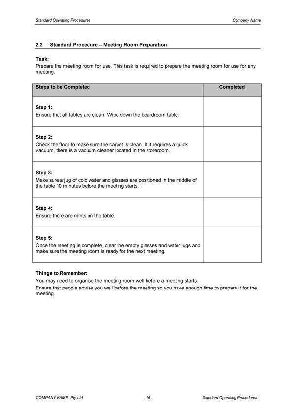 Standard Operating Procedures Template | tristarhomecareinc