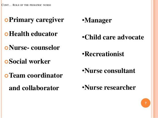 job description for a pediatric nurse role of pediatric nurse in