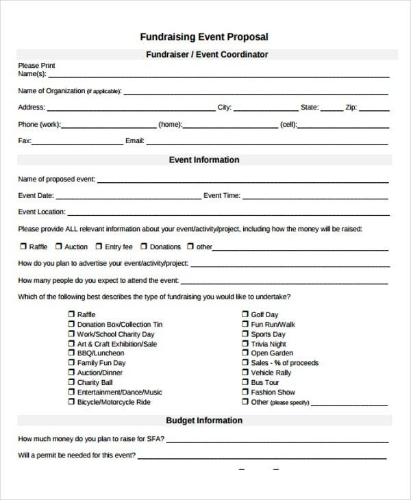 Fundraising Event Proposal Templates - 9+ Free Word, PDF Format ...