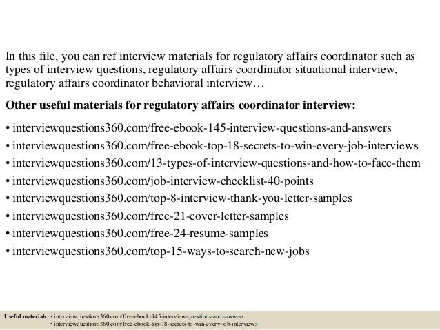Top 10 regulatory affairs coordinator interview questions and answers