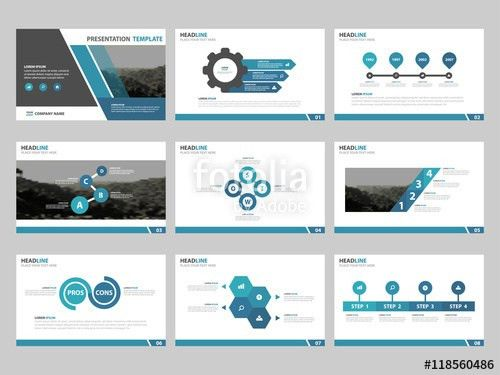 Blue Abstract presentation templates, Infographic elements ...