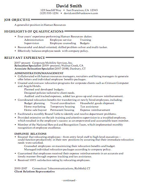 sample hr resumes resume cv cover letter hr resume template ...
