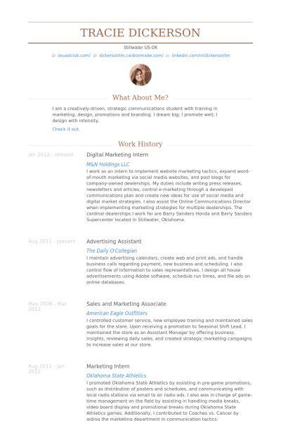 Digital Marketing Intern Resume samples - VisualCV resume samples ...