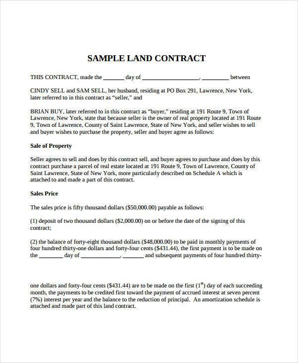 7+ Land Contract Forms - Free Sample, Example, Format | Free ...