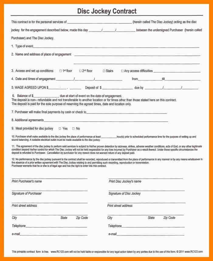 7+ dj contract template | coaching-resume
