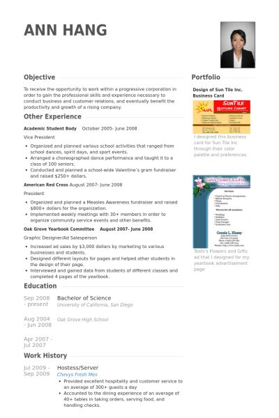 Hostess/Server Resume samples - VisualCV resume samples database