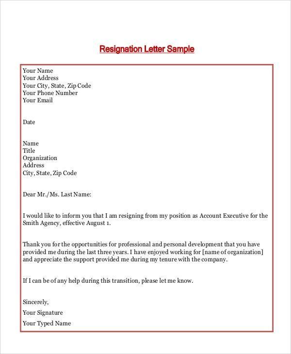Basic Resignation Letter. Basic Resignation Letter Notice Template ...