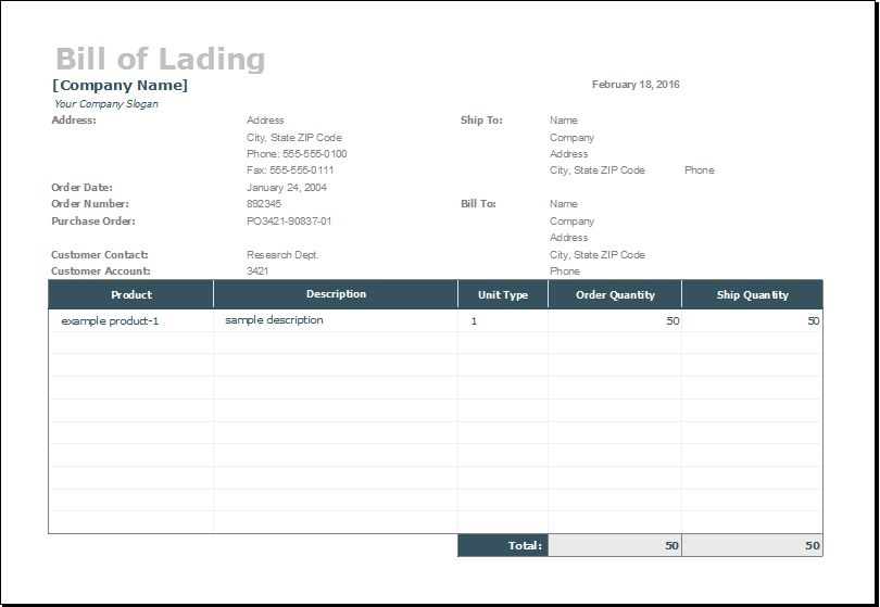 Bill of Lading Template for MS EXCEL | Excel Templates
