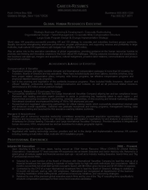 Human Resource Resume - Resume Example