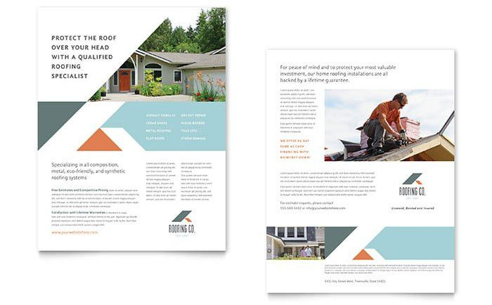 Roofing Company Datasheet Template Design