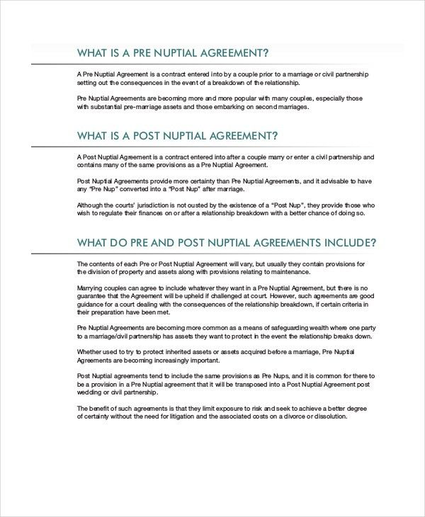 Prenuptial Agreement Form. 6 India In India, Prenuptial Agreements ...