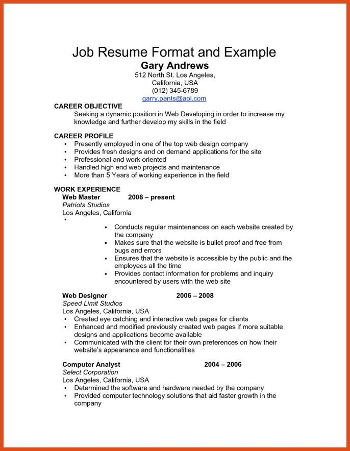 how to write a job resume | moa format