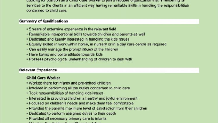 child care resume cover letter Child Care Worker Resume henry ...