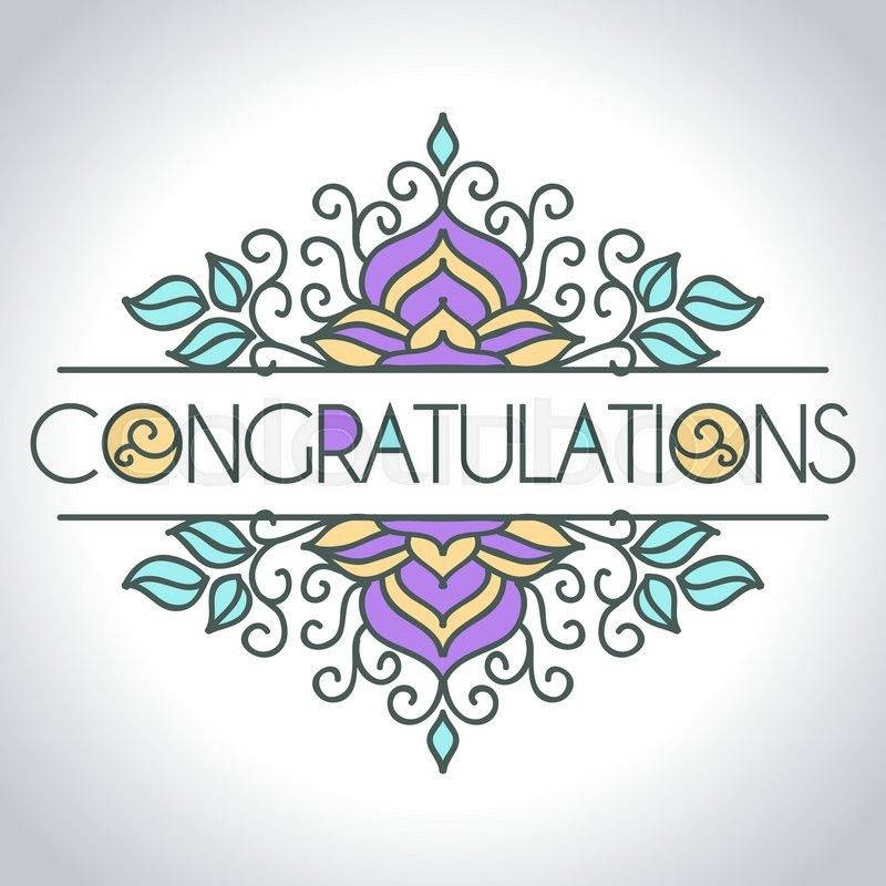 Vector card with floral ornament design. Congratulations card ...