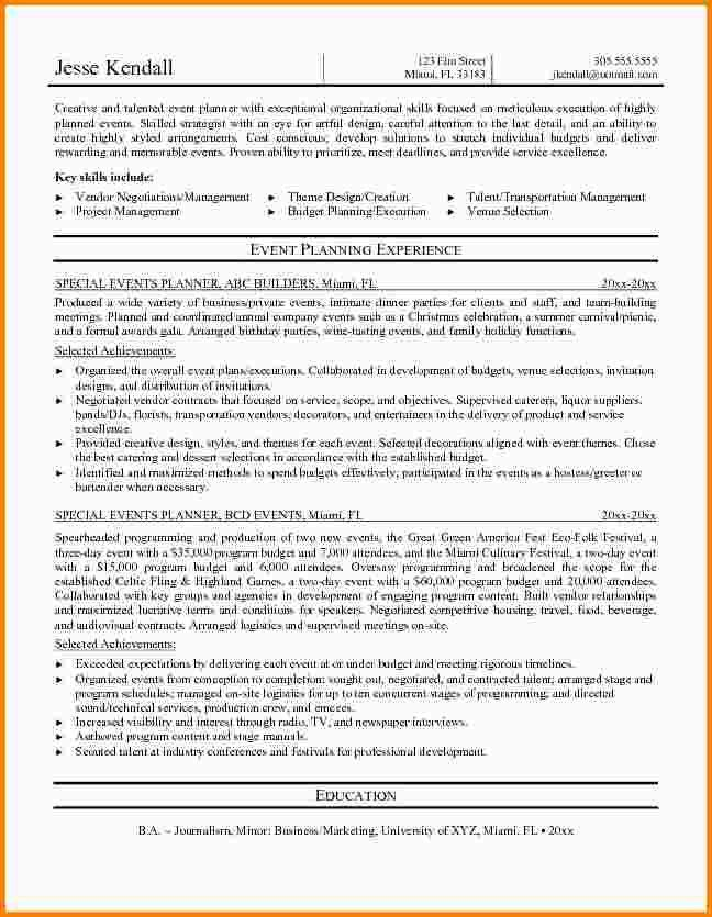 meeting and event planner resumes