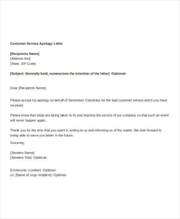 Customer Apology Letter. Apology Email Template Sample Apology ...