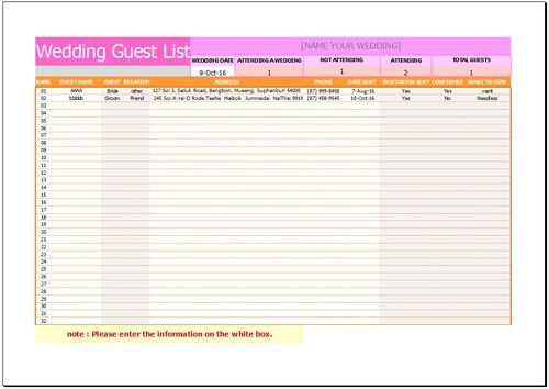 Free Wedding Guest List Template for Excel 2007 - 2016