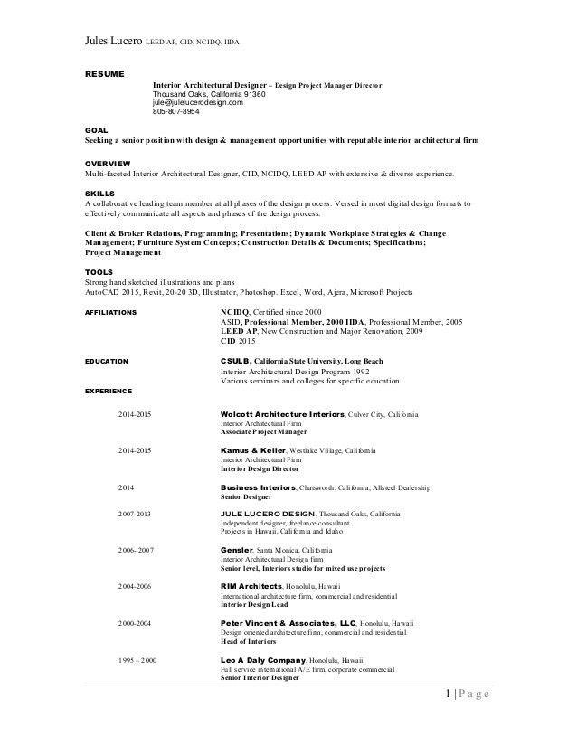 Jules Lucero RESUME - Interior Design Project Director Manager - Summ…