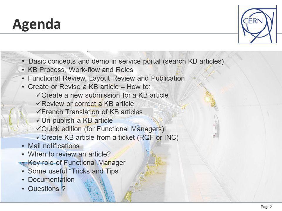 Agenda Basic concepts and demo in service portal (search KB ...