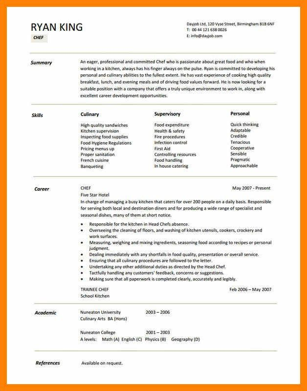 Chef Resume Template. Classy Chef Resumes 11 Chef Resume Template ...