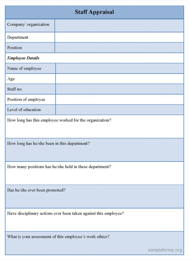 Staff Appraisal Form Template Free Landlord Employment Business ...
