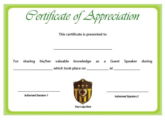 12 + Genuine Samples of Certificate of Appreciation for Guest ...