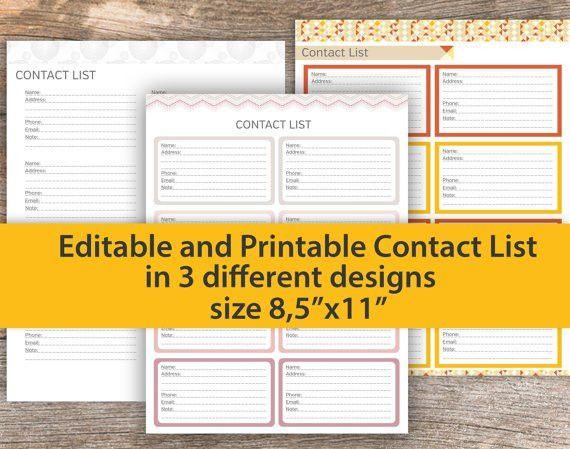 Contact List Editable Contact List PRINTABLE Contact