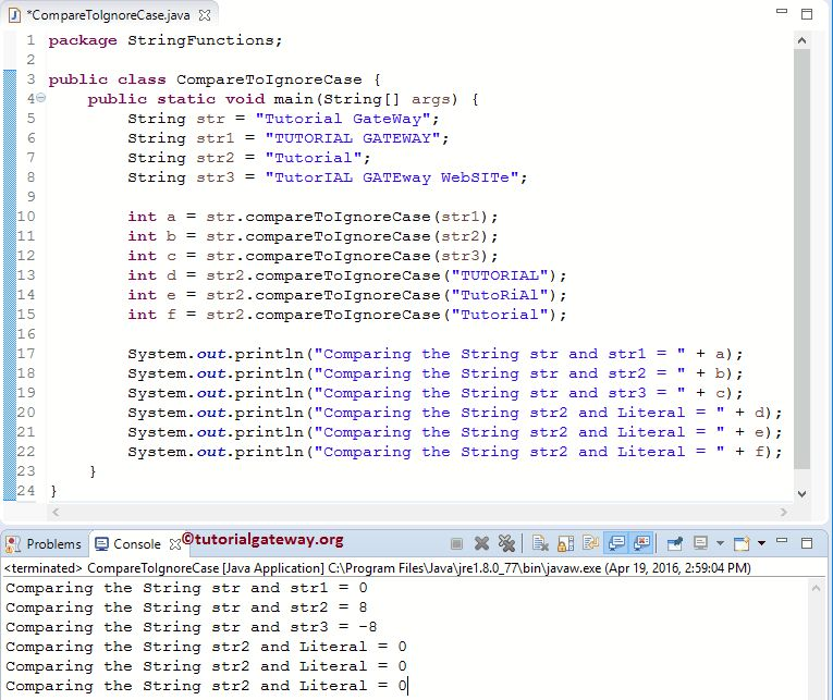 Java compareToIgnoreCase