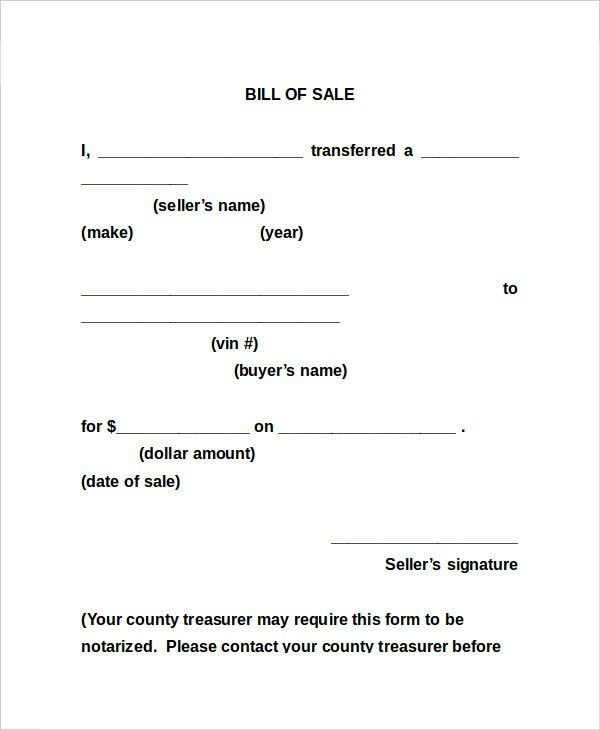 Bill Of Sale Form - 13+ Free Word, PDF Documents Download | Free ...