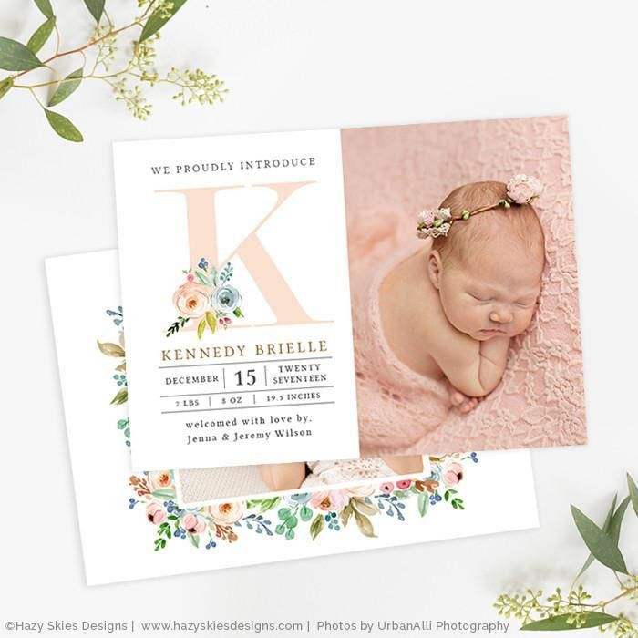 Girl Birth Announcement Template Photoshop Newborn Photo Card ...