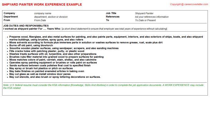Shipyard Painter CV Work Experience
