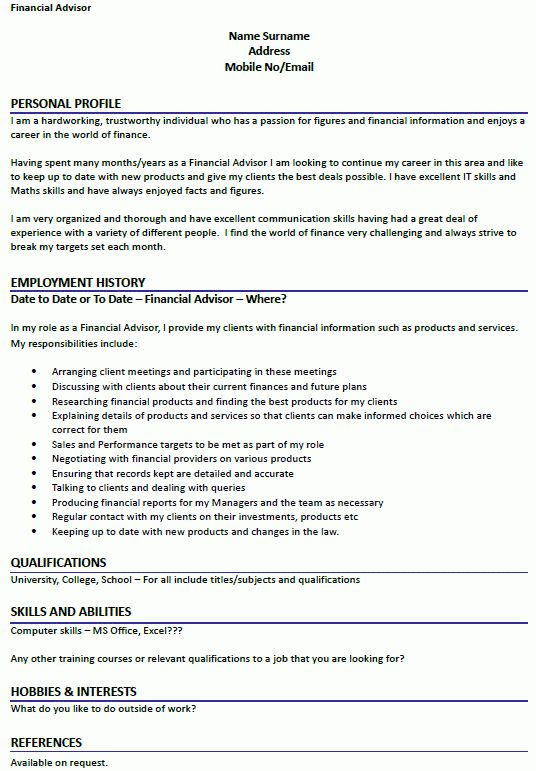 Trainee Financial Advisor Cover Letter