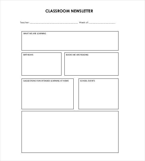 9+ Classroom Newsletter Templates – Free Sample, Example, Format ...