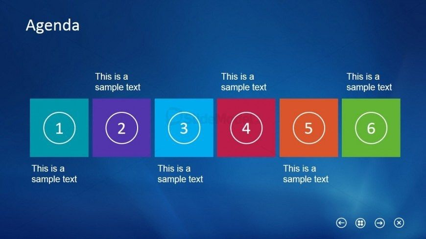 Horizontal Layout Slide Design Agenda for PowerPoint - SlideModel