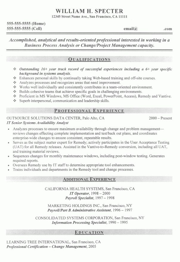Change Manager Project Manager Sample Resume | Career DIY ...