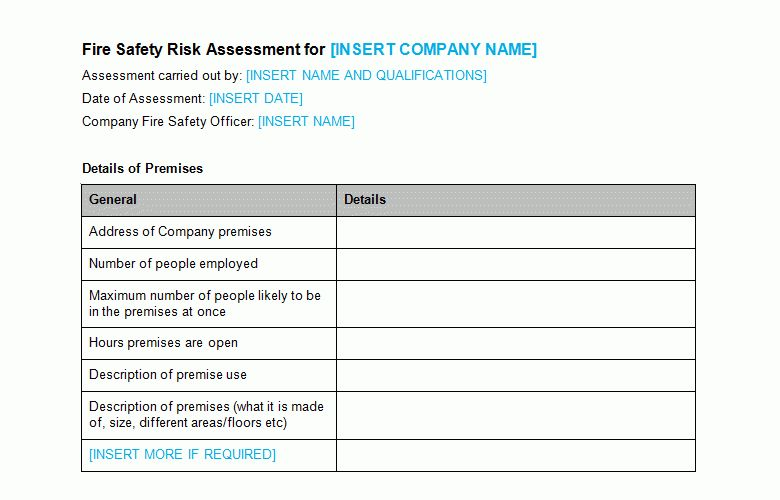 Fire risk assessment Template | Planning Business Strategies