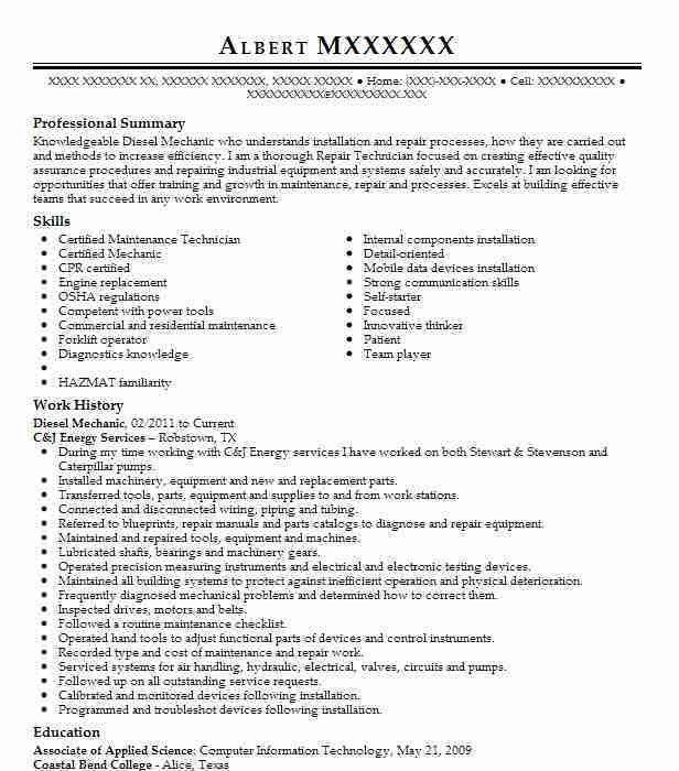 Best Diesel Mechanic Resume Example | LiveCareer